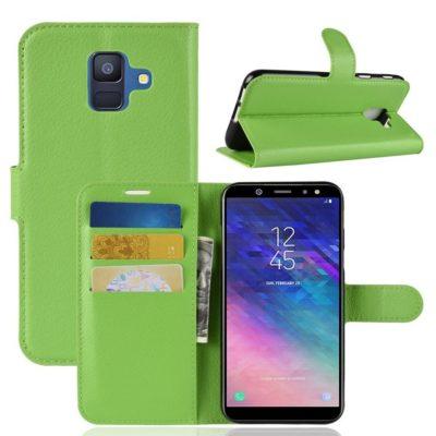 Samsung Galaxy A6 (2018) Kotelo PU-Nahka Vihreä