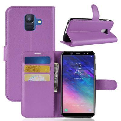 Samsung Galaxy A6 (2018) Kotelo PU-Nahka Violetti