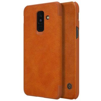 Samsung Galaxy A6+ (2018) Kotelo Nillkin Qin Ruskea