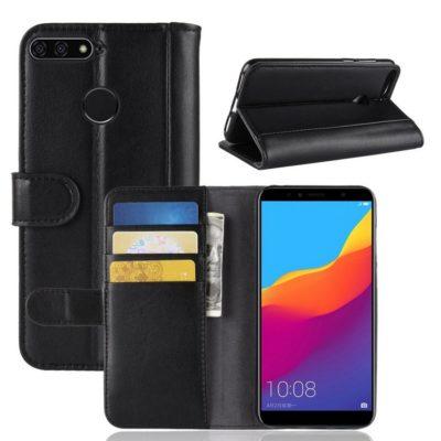 Huawei Honor 7A Suojakotelo Musta Nahka