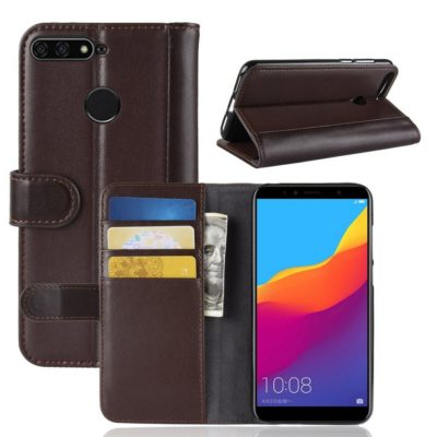 Huawei Honor 7A Suojakotelo Ruskea Nahka