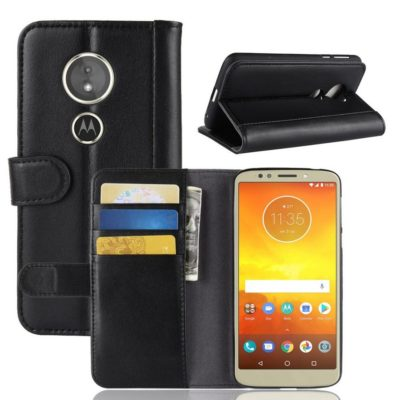 Motorola Moto E5 Suojakotelo Musta Nahka