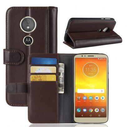 Motorola Moto E5 Suojakotelo Ruskea Nahka