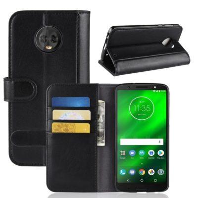 Motorola Moto G6 Plus Kotelo Musta Nahka