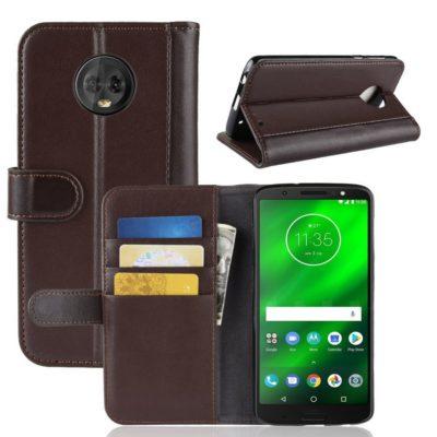 Motorola Moto G6 Plus Kotelo Ruskea Nahka