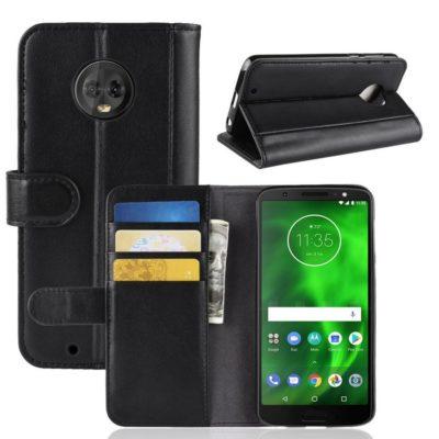 Motorola Moto G6 Suojakotelo Musta Nahka