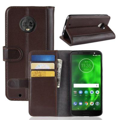 Motorola Moto G6 Suojakotelo Ruskea Nahka