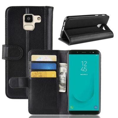 Samsung Galaxy J6 (2018) Kotelo Musta Nahka