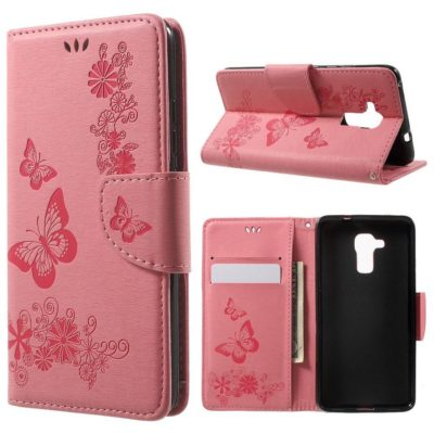 Huawei Honor 7 Lite Suojakotelo Perhonen Vaaleanpunainen