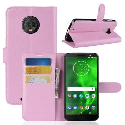 Motorola Moto G6 Suojakotelo Vaaleanpunainen Lompakko