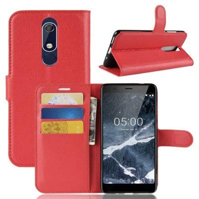 Nokia 5.1 (2018) Lompakkokotelo Punainen