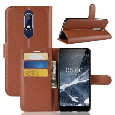 Nokia 5.1 (2018) Lompakkokotelo Ruskea