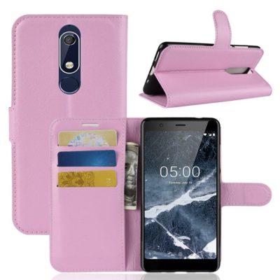 Nokia 5.1 (2018) Lompakkokotelo Vaaleanpunainen