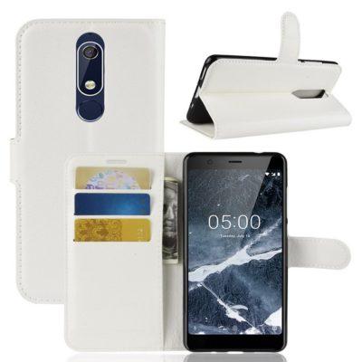 Nokia 5.1 (2018) Lompakkokotelo Valkoinen