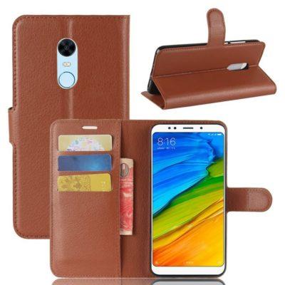 Xiaomi Redmi 5 Plus Suojakotelo Ruskea Lompakko