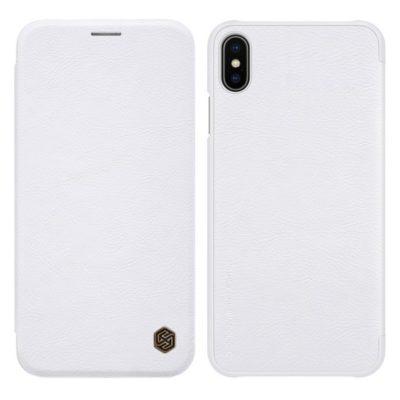 Apple iPhone Xs Max Kotelo Nillkin Qin Valkoinen