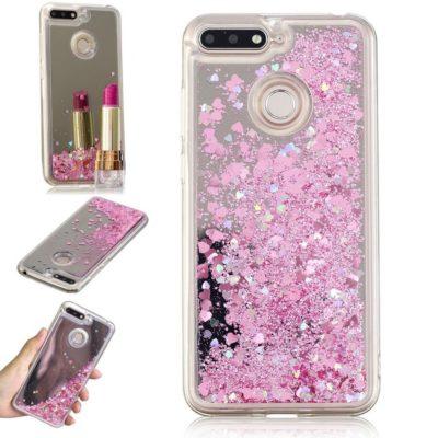Huawei Honor 7A Suojakuori Glitter Vaaleanpunainen