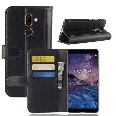 Nokia 7 Plus Suojakotelo Musta Nahka