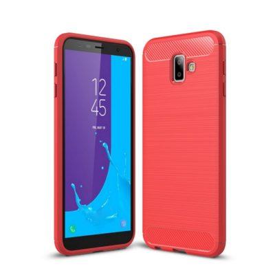 Samsung Galaxy J6+ (2018) Suojakuori Hiilikuitu Punainen