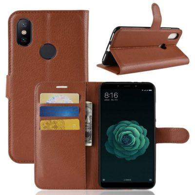 Xiaomi Mi A2 Suojakotelo Ruskea Lompakko