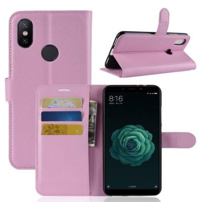 Xiaomi Mi A2 Suojakotelo Vaaleanpunainen Lompakko