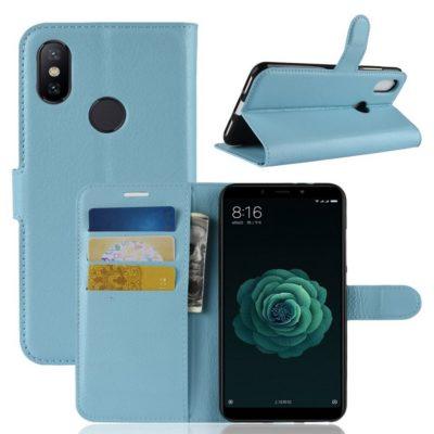 Xiaomi Mi A2 Suojakotelo Vaaleansininen Lompakko