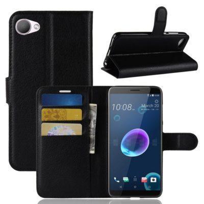 HTC Desire 12 Suojakotelo PU-Nahka Musta