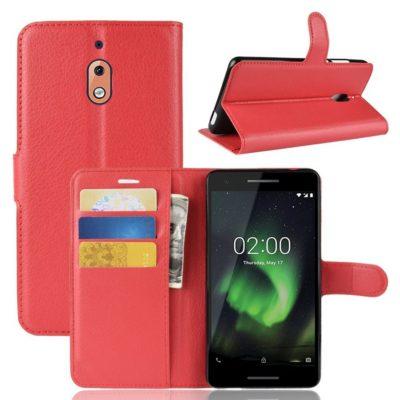 Nokia 2.1 (2018) Suojakotelo Punainen Lompakko