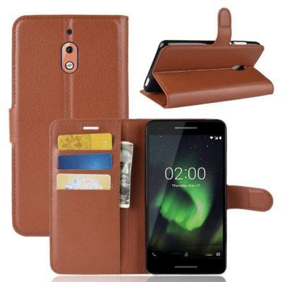Nokia 2.1 (2018) Suojakotelo Ruskea Lompakko