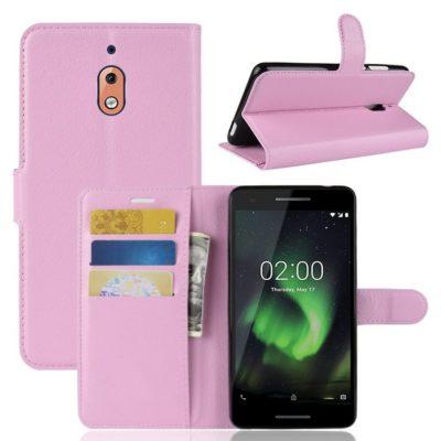 Nokia 2.1 (2018) Suojakotelo Vaaleanpunainen Lompakko