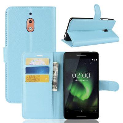 Nokia 2.1 (2018) Suojakotelo Vaaleansininen Lompakko