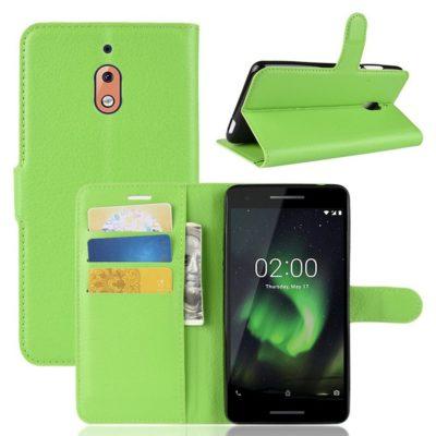Nokia 2.1 (2018) Suojakotelo Vihreä Lompakko