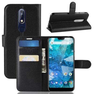 Nokia 7.1 (2018) Suojakotelo PU-Nahka Musta