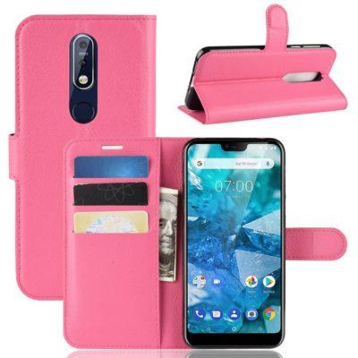 Nokia 7.1 (2018) Suojakotelo PU-Nahka Pinkki