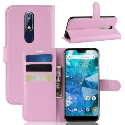 Nokia 7.1 (2018) Suojakotelo PU-Nahka Vaaleanpunainen