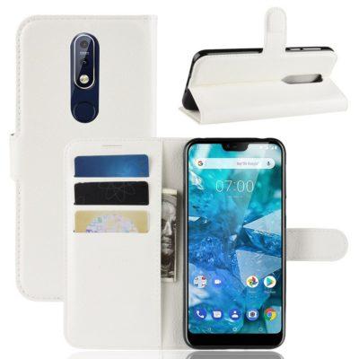 Nokia 7.1 (2018) Suojakotelo PU-Nahka Valkoinen