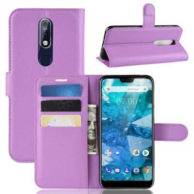 Nokia 7.1 (2018) Suojakotelo PU-Nahka Violetti