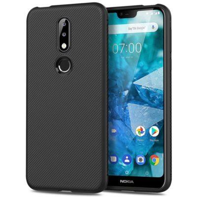 Nokia 7.1 (2018) Suojakuori Silikoni Musta