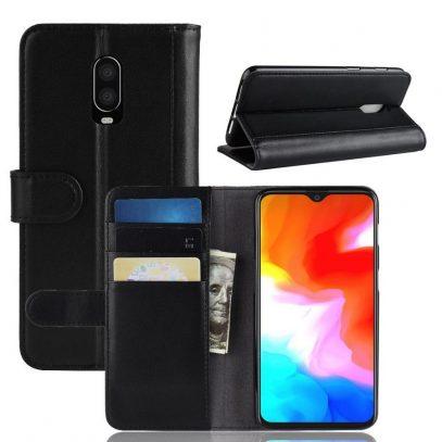 OnePlus 6T Nahkakotelo Musta Lompakko
