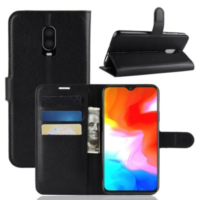 OnePlus 6T Suojakotelo PU-Nahka Musta