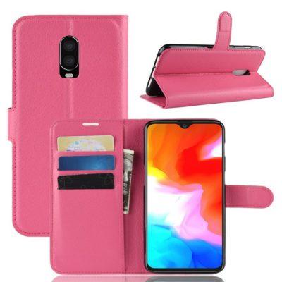 OnePlus 6T Suojakotelo PU-Nahka Pinkki