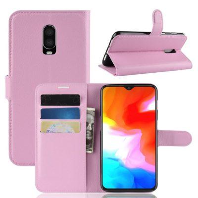 OnePlus 6T Suojakotelo PU-Nahka Vaaleanpunainen