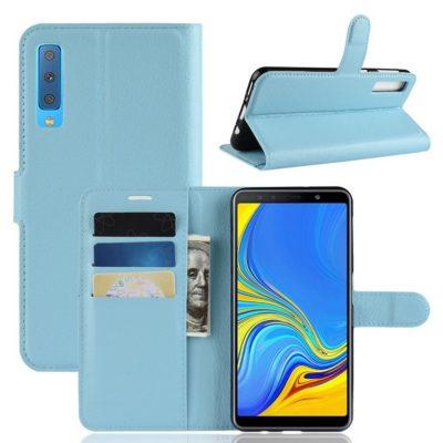Samsung Galaxy A7 (2018) Kotelo Vaaleansininen Lompakko