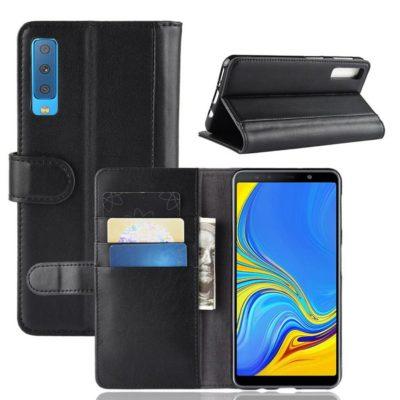 Samsung Galaxy A7 (2018) Suojakotelo Musta Nahka