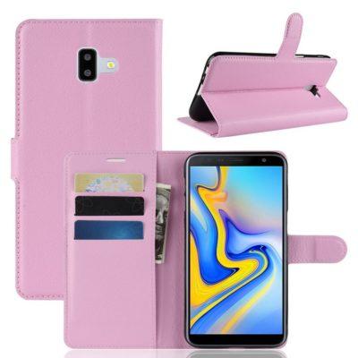 Samsung Galaxy J6+ (2018) Lompakkokotelo Vaaleanpunainen