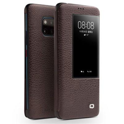 Huawei Mate 20 Pro Nahkakotelo Qialino Tummanruskea