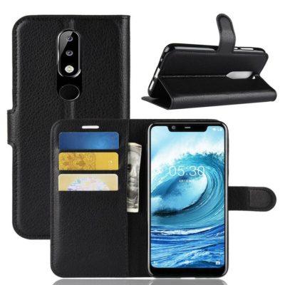 Nokia 5.1 Plus Suojakotelo Musta Lompakko