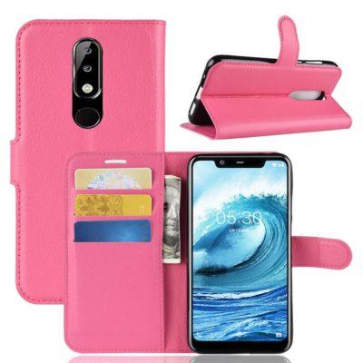 Nokia 5.1 Plus Suojakotelo Pinkki Lompakko