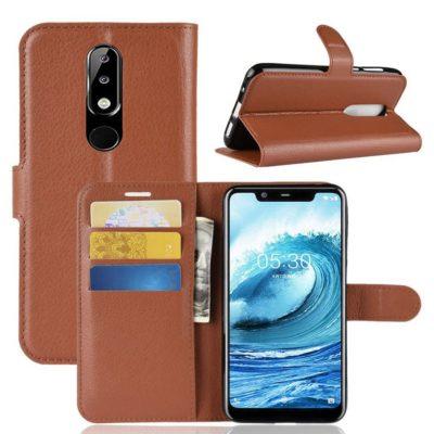Nokia 5.1 Plus Suojakotelo Ruskea Lompakko