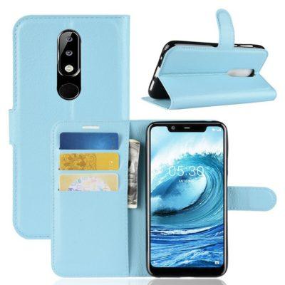 Nokia 5.1 Plus Suojakotelo Sininen Lompakko